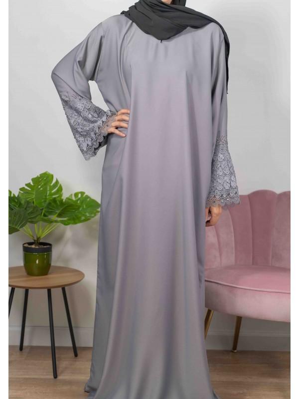 Merveilles d'Orient bleu grisé - Abaya De Dubaï