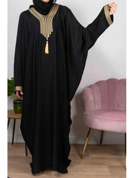 Amira de Dubaï Noire Au Fil Doré - Abaya De Dubaï